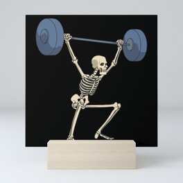 Skeleton with barbell over head squat fitness Mini Art Print
