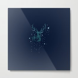 Deer silhouette with winter forest Metal Print