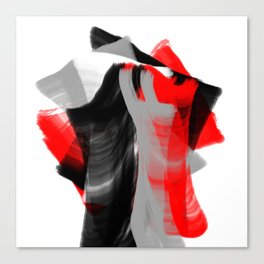 dancing abstract red white black grey digital art Canvas Print