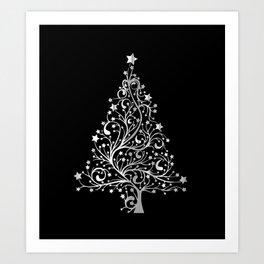Vibrant Black and  White Christmas Tree Black Background Pattern Cutest Art Print