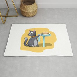 Cat trying to steal sandwich Rug
