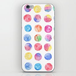 Artistic hand painted pink blue green watercolor brush strokes polka dots iPhone Skin