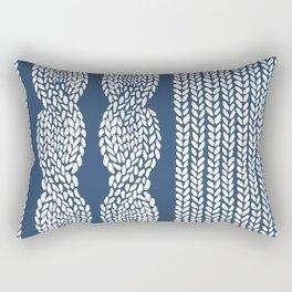 Cable Row Navy 1 Rectangular Pillow