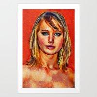jennifer lawrence Art Prints featuring Jennifer Lawrence by Nick Arte