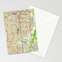 Vintage Map of Fort Worth Texas (1955) Stationery Cards