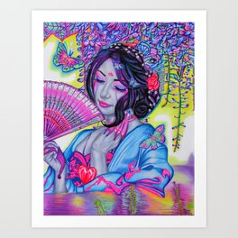 Colors Behind the Eyes Oriental Geisha Nature Fantasy Portrait Art Art Print