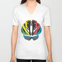 cycling V-neck T-shirts featuring Cycling Face by Pedlin