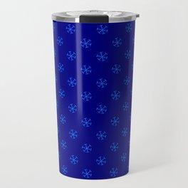 Brandeis Blue on Navy Blue Snowflakes Travel Mug