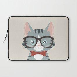 Grey Tabby Hipster Cat Laptop Sleeve