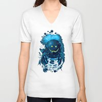 diver V-neck T-shirts featuring SMILING DIVER by ADAMLAWLESS
