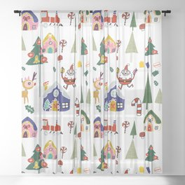Santa Claus White #Christmas #Holiday Sheer Curtain