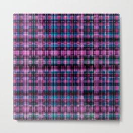 Electric Pink - Purple Plaid Metal Print