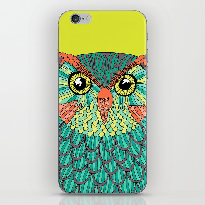 owl - Lime green iPhone Skin