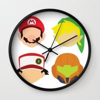 nintendo Wall Clocks featuring Nintendo Greats by MoleFole