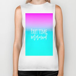 Modern summer part time mermaid typography pink blue gradient Biker Tank