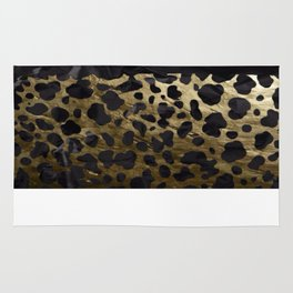 Gold and Black Cheetah Metal Texture  Rug