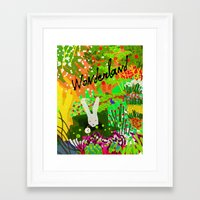 alice in wonderland Framed Art Prints featuring Wonderland by Soundtrack Cola