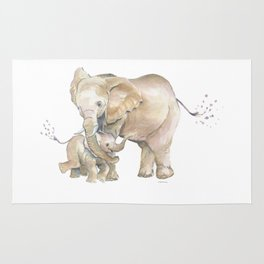 Mother's Love - Elephant Family Rug