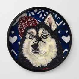 Husky in a Hat and Scarf Wall Clock