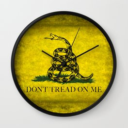 Gadsden Flag, Don't Tread On Me in Vintage Grunge Wall Clock