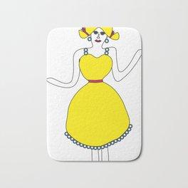 The girl in yellow Bath Mat