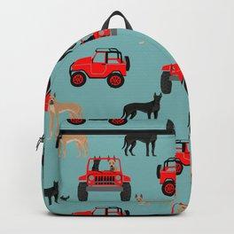 Great Dane jeep car dog breed pattern custom pet portrait Backpack