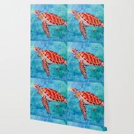 Sea turtle and friend Wallpaper