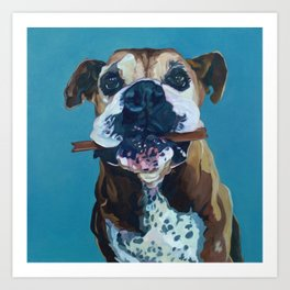 My Happy Abby Boxer Girl Portrait Art Print