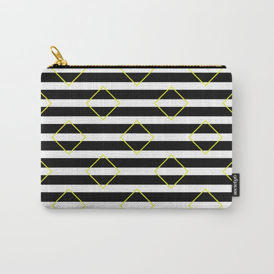 Black And White Stripes And Yellow Squares Pattern Carry-All Pouch
