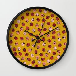 All Over Modern Ladybugs on Mustard Yellow Background Wall Clock