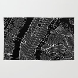 New York City Black Map Rug