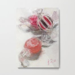Sweets Still Life Painting Pink and White Metal Print