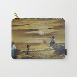 Winslow Homer's African American Masterpiece, Family Seaside at Sunset panoramic landscape painting Carry-All Pouch