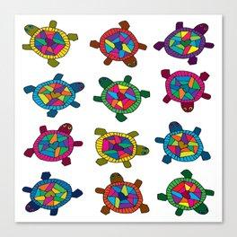 Multi Color Turtles Canvas Print
