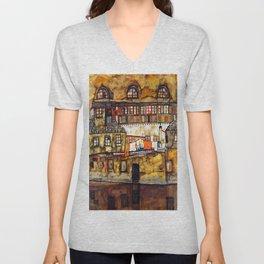 Egon Schiele House Wall on the River Unisex V-Neck