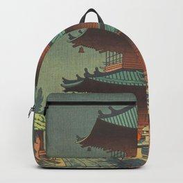 Asano Takeji-Rain In Kiyomizu Temple Vintage Japanese Woodblock Print Art Backpack