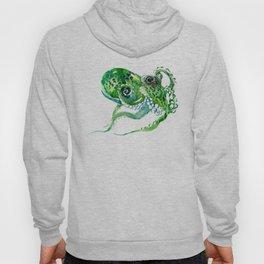 Beach art, green Octopus, sea world, aquatic nautical octopus art Hoody