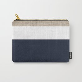 Faux Burlap, White, and Navy Minimalist Color Block 2  Carry-All Pouch