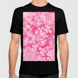 Romantic white pink abstract watercolor roses floral T-shirt
