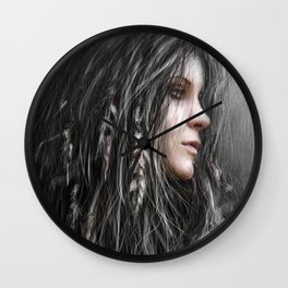 Feathers in Her Hair Wall Clock