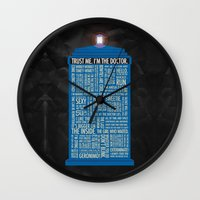 doctor who Wall Clocks featuring Doctor Who  by Luke Eckstein