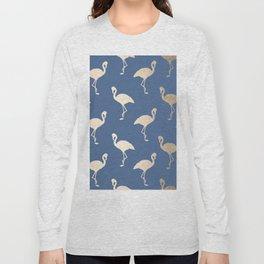 Gold Flamingo on Aegean Blue Long Sleeve T-shirt
