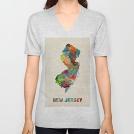 New Jersey Watercolor Map Unisex V-Neck