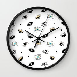 Eyes pattern white background Wall Clock