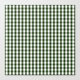Dark Forest Green and White Gingham Check Canvas Print