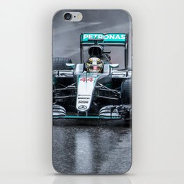 Lewis Hamilton 2016 driving his Formula 1 car in the rain iPhone Skin