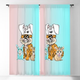 Two rabbits and a puppy in a bunny hat Blackout Curtain
