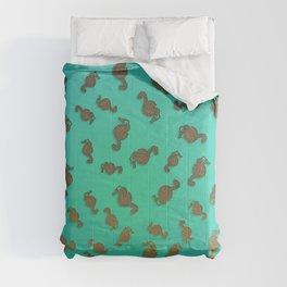 Copper Seahorses in an Aqua Sea Comforters