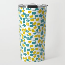 Branches and Leaves in Teal and Yellow Travel Mug