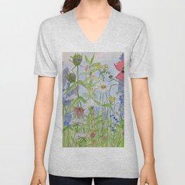 Flowers Alive Watercolor Unisex V-Neck